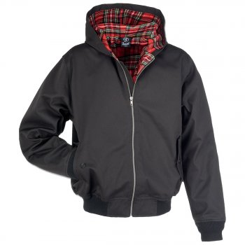 Hooded Harrington Jacket, schwarz