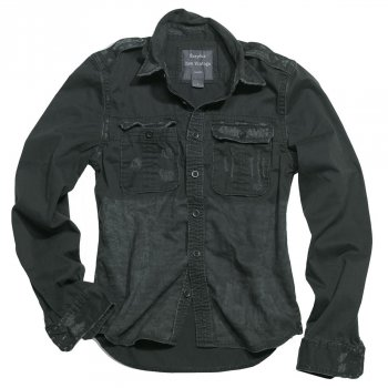 SURPLUS Raw Vintage Shirt langarm, schwarz