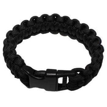Survival Armband PARACORD 23 mm, schwarz