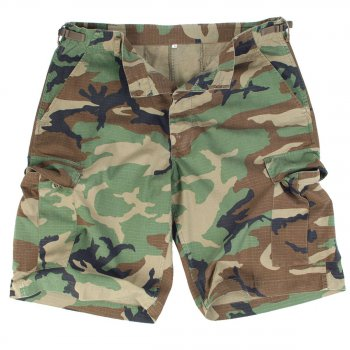 US BDU Bermuda, Rip Stop, woodland washed S
