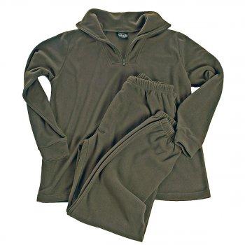 Unterwäsche Thermofleece Zipper oliv, L