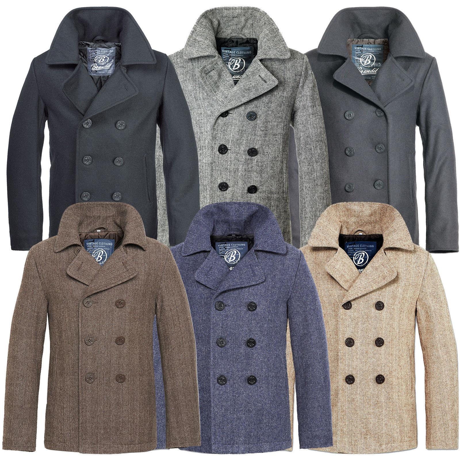 brandit pea coat marine woll mantel herren winter jacke navy caban kurzmantel. Black Bedroom Furniture Sets. Home Design Ideas