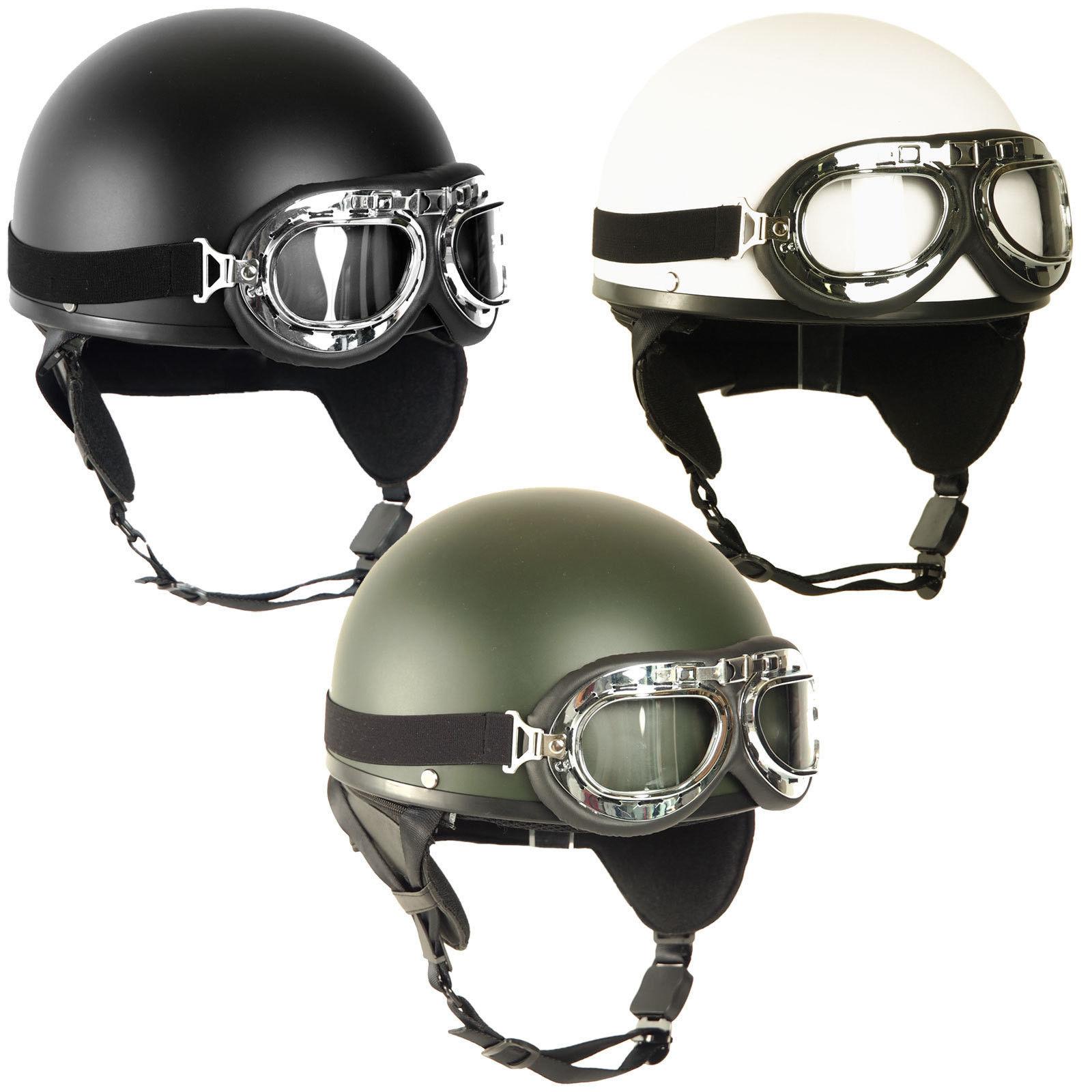 retro helm halbschale mit brille gr s l oldtimer helm ddr moped motorradhelm ebay. Black Bedroom Furniture Sets. Home Design Ideas