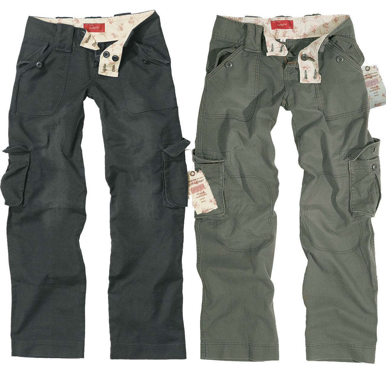 surplus ladies vintage trouser schwarz oliv gr 34 42 damen cargo hose trousers ebay. Black Bedroom Furniture Sets. Home Design Ideas