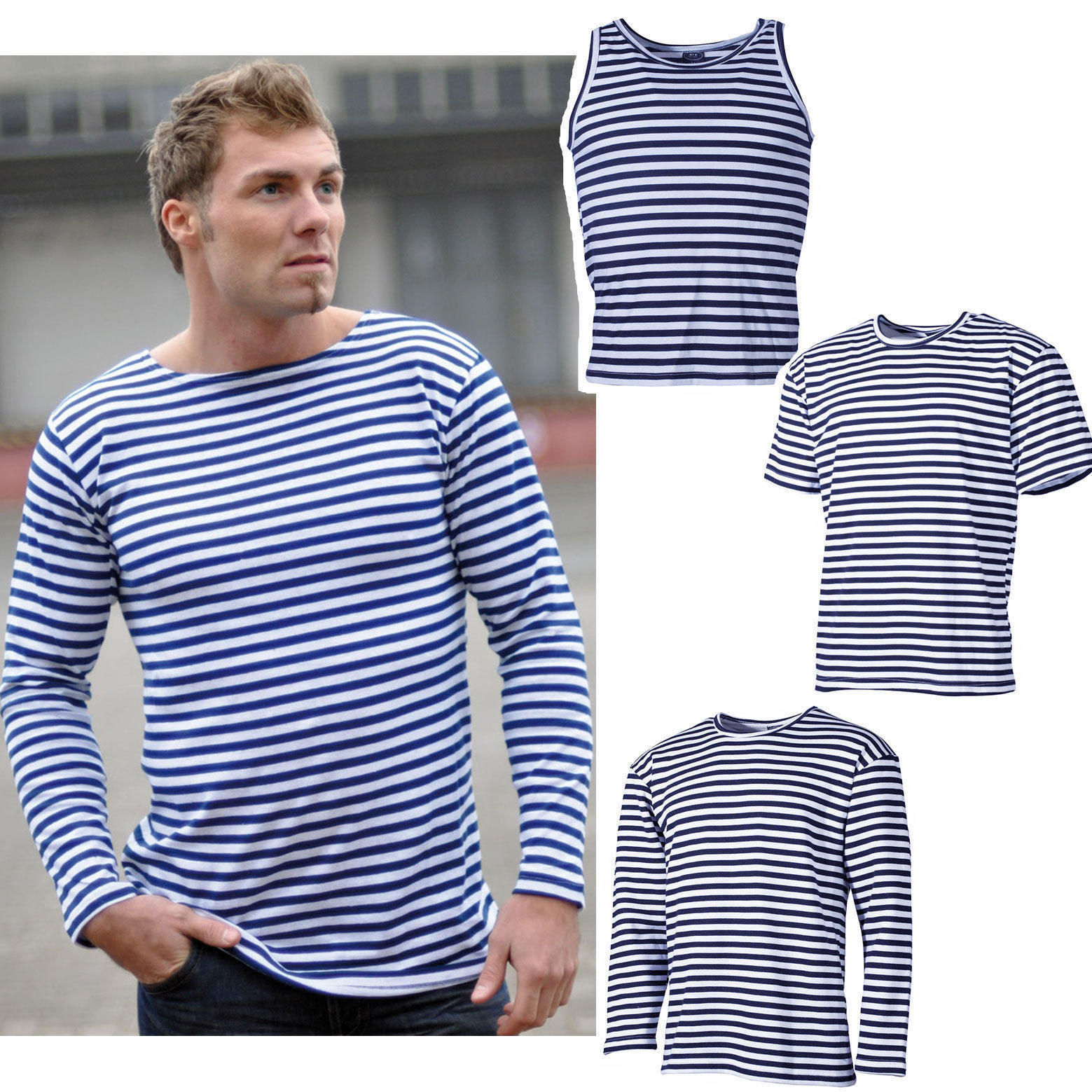 russisches marine shirt top oder pullover xs 3xl blau wei gestreift matrosen ebay. Black Bedroom Furniture Sets. Home Design Ideas