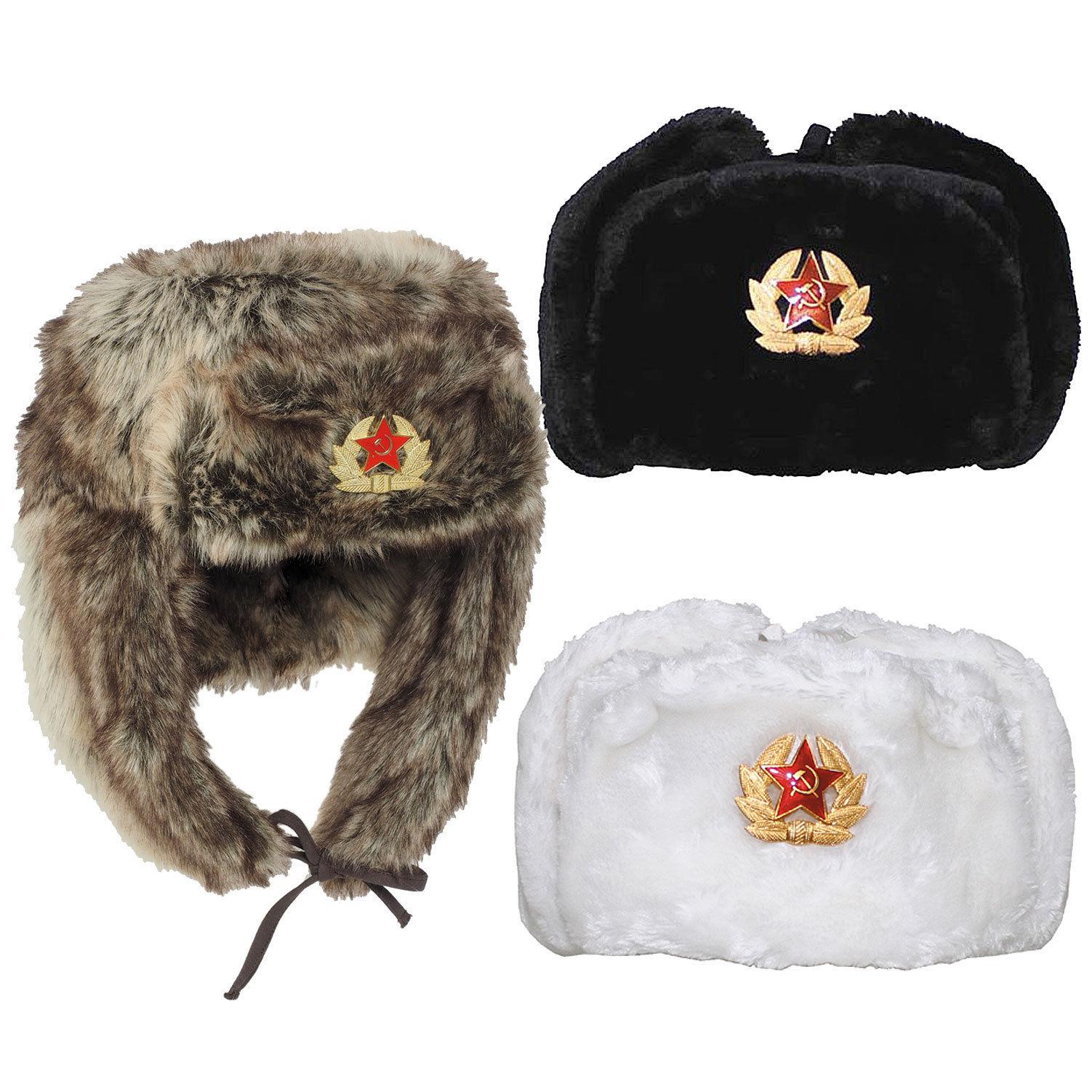 Ruso Gorro de Piel Uschanka XS-XXL Shapka Ejército Invierno Rusia  88e4bbfef3a