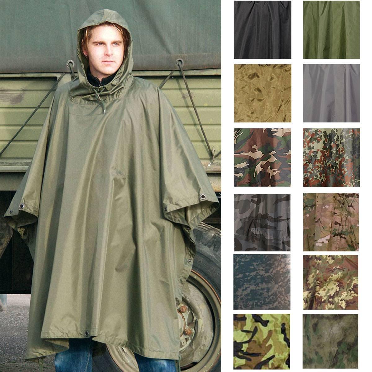 US Poncho Ripstop Regenponcho Regenbekleidung Regenschutz mit Kapuze woodland