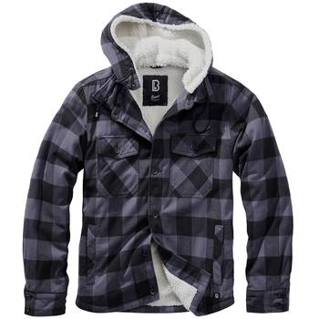 Hooded Lumberjacket schwarz-grau, S
