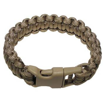 Survival Armband PARACORD 23 mm coyote